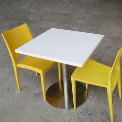 أثاث المطعم المربع الطعام طاولة حجر علوي طاولة بيضاء الرخام الصناعي