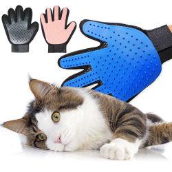 Gant de toilettage pour chats Cat Gant de laine de poils peigne Brosse Deshedding Gant pour chien de compagnie nettoyage Gant de massage pour les animaux
