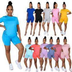 Solide T-Shirt à manches courtes+Pantalon Femme 2 pièces de vêtements plus décontractés d'usure d'accueil d'été de taille S-5XL tenues Ensemble 2 pièces