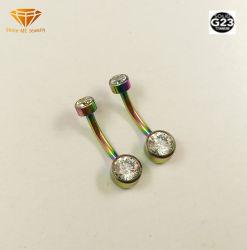 Anello variopinto Tpn012c della pancia della CZ di Piercing di titanio dei monili F136 di modo di alta qualità