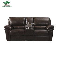 La parte superior de cuero auténtico grano sofá reclinable Manual Designs