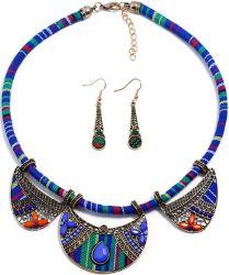 Nuovi orecchini e collane in stile etnico blu intrecciati Orecchini a corda e collane due Set di ornamenti