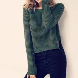 여성 스웨터와 풀오버 한국식 긴팔 캐주얼 크롭 스웨터 슬림 솔리드 니트 점퍼 스웨터