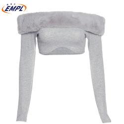 La moda Señoras sexy mujer Unisex Cashmere del cultivo de tejido de arriba jersey de hombro