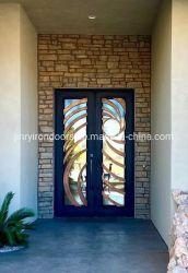 تصميم منحنى زاين باللون الذهبي بالليزر باب مزدوج للمنزل الفاخر باب من الحديد المشغول