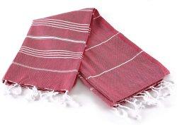 Toalha de turco%100 Algodão - Pré lavados, mais suavemente 39 X 69 Peshtemal, Praia, Turco, SPA, banho turco, Super toalhas macias (Vermelho)