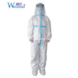 Los EPI de sala limpia de la seguridad Individual de Servicio Pesado de trabajo protección blanca química mono desechable traje microporoso con capucha gran proveedor de ropa al por mayor