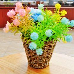 La decoración del hogar tejida a mano Color Natural la ronda de paja para macetas de flores Cesta de tejido de soporte