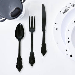 أدوات المائدة من مجموعة أدوات المائدة البلاستيكية التي يمكن التخلص منها تضع الكاشطات+الملاعق+الشوكات ذات المقبض الطويل الصلب للسفر في عيد ميلاد الزفاف