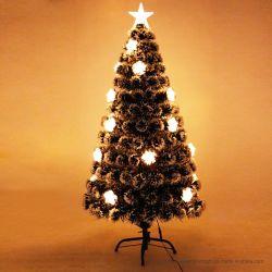 Decorações de Natal Black Green White Edge Árvore de Natal 45-300cm Five-Pointed Star Fiber Optic Natal Árvore de LED