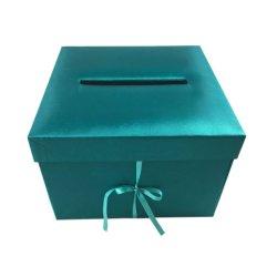 Роскошные свадьбы цветом Teal шелковые покрывала коробке конвертов с лентой