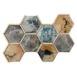 台所Backsplashの装飾のためのアルミニウムモザイクが付いているインクジェット印刷の六角形のクリスタルグラス