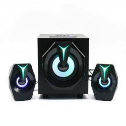 صوت محيطي ثلاثي الأبعاد كمبيوتر سلكي صبووفر مكبر صوت الكمبيوتر الكمبيوتر المحمول 2.1 سماعة ألعاب BT RGB