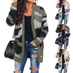 方法緩いレディースカムフラージュプリントニットの中間の長い秋のカーディガンのセーターの上