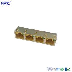 Cat3 Разъем телефонные и телекоммуникационные компоненты 4 порт RJ45 со стальной корпус