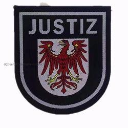 Groothandel garment accessoire aangepaste kleding merknaam Logo Iron On Geweven badges Woven Patches voor kleding Uniform