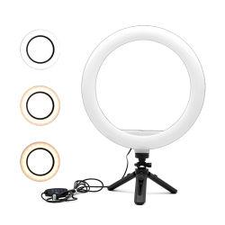 Espelho Dobrável vivos Tripé Telefone Stick Selfie Luz do anel de enchimento