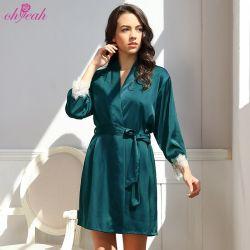 Qualitäts-zweiteilige Spitze-Ordnungs-Satin-Brautwäsche-Silk Nightgown-und Robe-Set