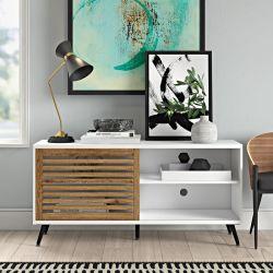 Bianco della mobilia del salone 58 pollici di TV di legno con i piedini di legno solido per le TV