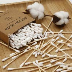 Germogli di bambù biodegradabili del cotone in casella del Kraft del cassetto 200PCS