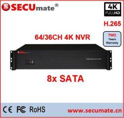 4K de sécurité CCTV 36 Canal NVR Poe 16CH Ports Poe Support 2 alarme Entrée/Sortie HDMI®