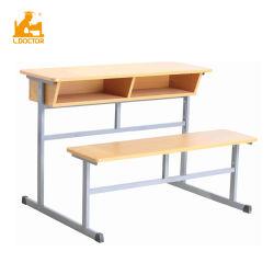 테이블이 부착된 학교 합판 이중 의자