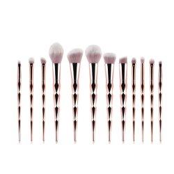 Rose Golden Ferramentas de beleza cosméticos 12 PCS Pega Diamante Makeup Ajuste da Escova