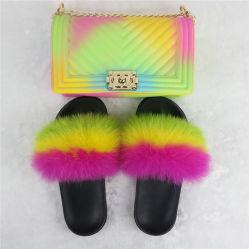 Zh003 Schoenen van de Gelei van de Handtas van de Gelei van de Regenboog van de Wipschakelaars van de Dia van de Zak en van het Bont van de Meisjes van de Gelei de Plastic