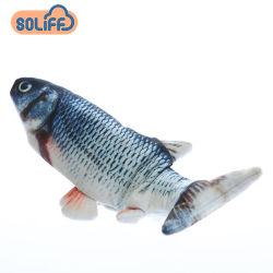 3D電気プラシ天によって詰められるシミュレーションの魚のおもちゃ猫は赤ん坊のおもちゃをもてあそぶ