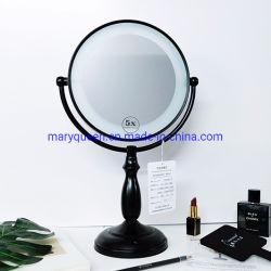 zwarte 9 '' namen dubbel-Opgeruimde Ijdelheid Mirror1X/3X of 5X of 10X de LEIDENE van de Schakelaar van de Aanraking Spiegels van de Make-up toe