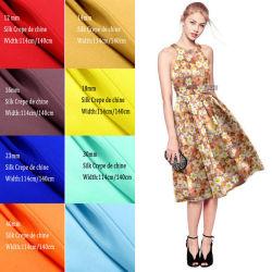 Venda por grosso de Seda Real Natureza Impresso Digital Crepe De Chine tecido de seda para vestir