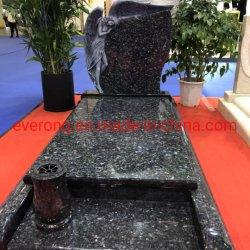 Blaues Perlen-Granit-Denkmal mit dem lehnenden Engel, der Grundstein für Memerial schnitzt