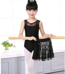 Новых детей Латинской Dance платья длинной втулки кружева Sequin детей