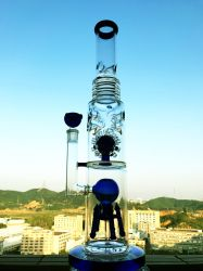 Usine de recyclage de gros douche Perc recycleur de haute qualité couleur tabac Tall bol en verre de l'artisanat de verre cendrier tuyaux bécher grisant barboteur Handcrafted Glaze-Glas