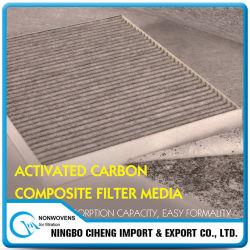 Pano de filtro ativado granulado não tecido do carbono dos compostos do fabricante