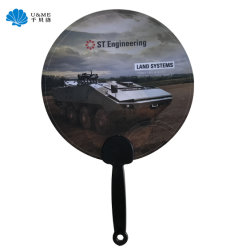 Mango de plástico de logotipo personalizado Fan, ventilador de la publicidad, PP Regalo abanicos en China