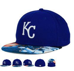 新しいデザイン青い編まれたウールの昇華Printing/3D刺繍の野球帽