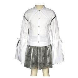 학교 관화 소매 제복 치마가 도매 최상 서스펜더 디자인 관례에 의하여 농담을 한다