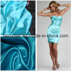 L'étirement 100 % polyester Tissu satin robe pour dame