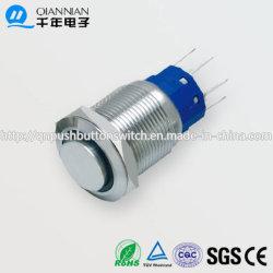 schakelaar van de Knoop van 19mm 1no Nc/2no 2nc Resetable de Zelfsluitende Hoge Vlakke Ring Verlichte IP67 Ik10