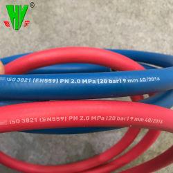 Гибкие шланги газовой сварки красного и синего цвета двойной гидравлический шланг