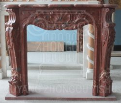 Chimenea de piedra de mármol natural rojo manto la decoración del hogar