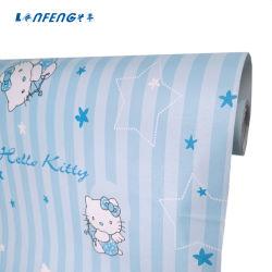 Bande dessinée en vinyle PVC Hellokitty papier peint, papier peint pour chambre de bébé décoration