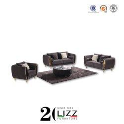 現代ホーム家具のステンレス製の金足1+2+3のビロードファブリックフルセットの部門別のソファー