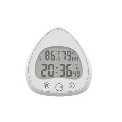 Pequeño y exquisito baño resistente al agua reloj de alarma de visualización de temperatura y humedad de lujo Creative Reloj alarma