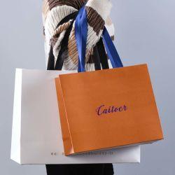 حقيبة ورق تسوق ذات شعار مطبوع مخصص للبيع الساخن مع مقابض الشريط