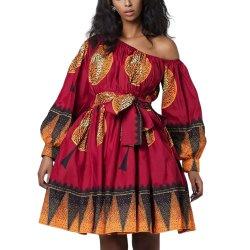 새로운 컬렉션 레드 긴팔 미니 프롬프즈 드레스