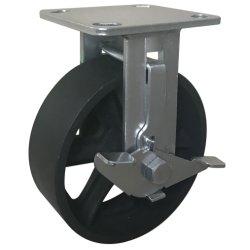"""新しいデザイン容器/Fokliftのための側面ブレーキが付いている耐久の産業安く4 """"鋳鉄の堅い足車の車輪"""