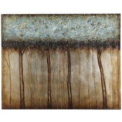 Los árboles de azul brillante de pinturas al óleo, el 100% hecho a mano arte de pared 50x40pulg.