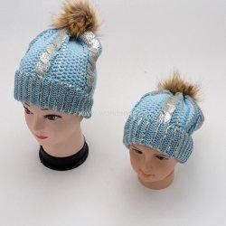 굉장한 작풍 금속 은 인쇄 어머니 아이에 의하여 뜨개질을 하는 겨울 모자